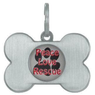 Peace Love Rescue Pet Adoption Pet Name Tag