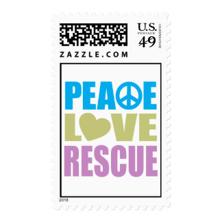 Peace Love Rescue Postage Stamps