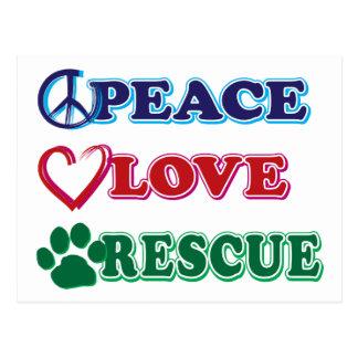 Peace Love Rescue Postcard