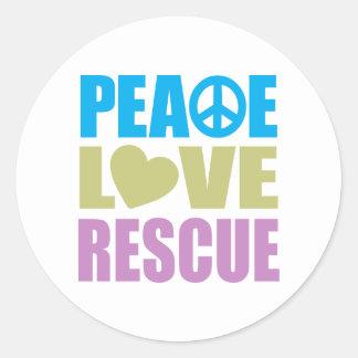 Peace Love Rescue Round Stickers