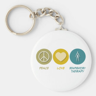 Peace Love Respiratory Therapy Basic Round Button Keychain