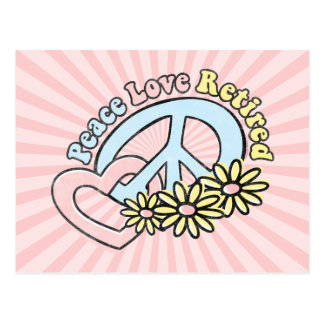 Peace Love Retired Postcard Invitation