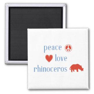 Peace Love Rhinoceros Magnet