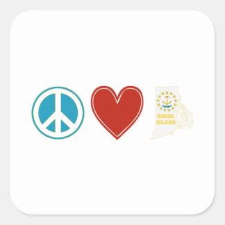 Peace Love Rhode Island Square Sticker
