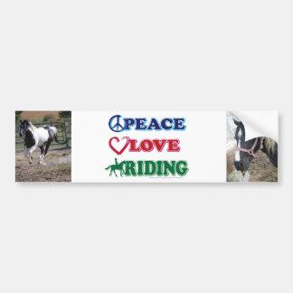 Peace Love Riding Bumper Sticker