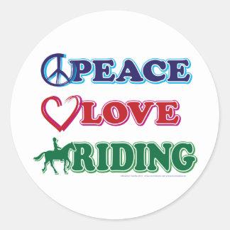 Peace Love Riding Classic Round Sticker