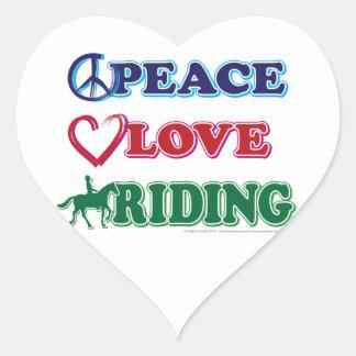 Peace Love Riding Heart Sticker