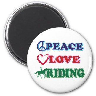 Peace-Love-Riding Horses 2 Inch Round Magnet
