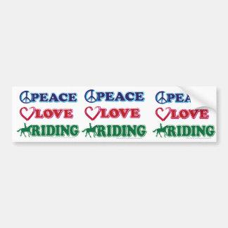 Peace-Love-Riding Horses Bumper Sticker