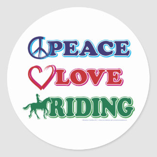 Peace-Love-Riding Horses Classic Round Sticker