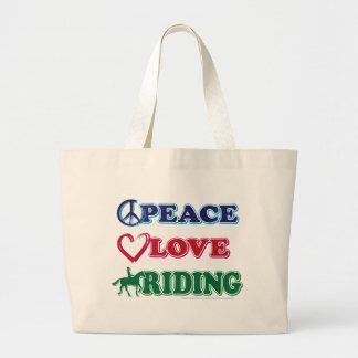 Peace-Love-Riding Horses Large Tote Bag