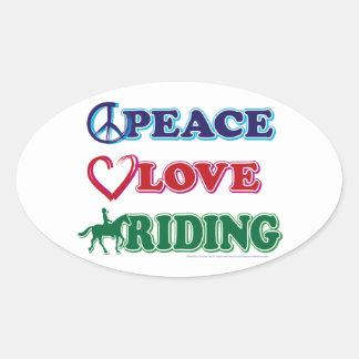 Peace Love Riding Oval Sticker