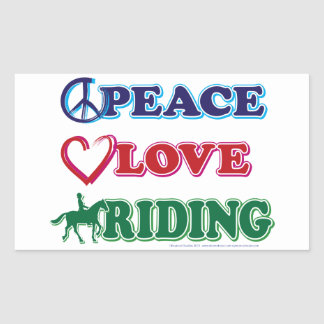 Peace Love Riding Rectangular Sticker