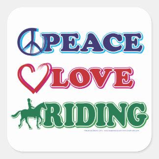 Peace Love Riding Square Sticker