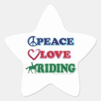 Peace Love Riding Star Sticker