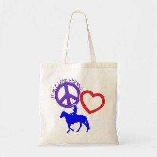 PEACE-LOVE-RIDING TOTE BAG