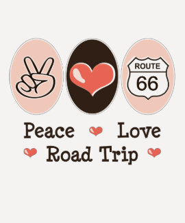 Peace Love Road Trip Route 66 Raglan Tee Shirt