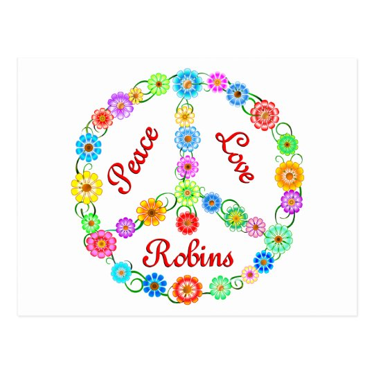 Peace Love Robins Postcard