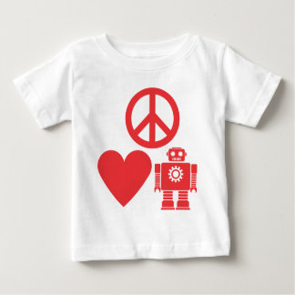 peace-love-robots2R.png Baby T-Shirt