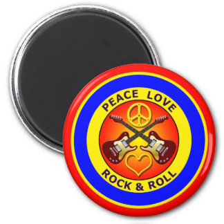 PEACE LOVE ROCK AND ROLL 2 INCH ROUND MAGNET