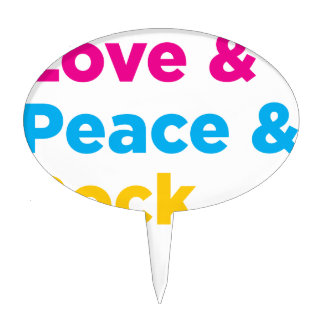 Peace & Love & Rock and Roll Cake Topper
