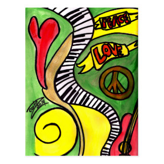 Peace, Love, Rock and Roll Postcard