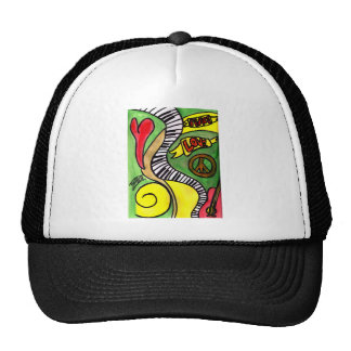 Peace, Love, Rock and Roll Trucker Hat
