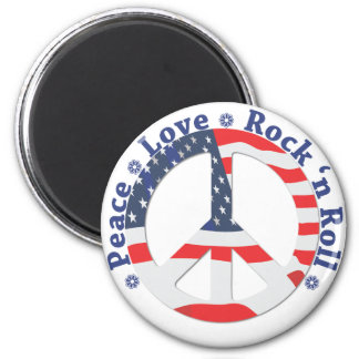 Peace, Love, Rock n Roll 2 Inch Round Magnet