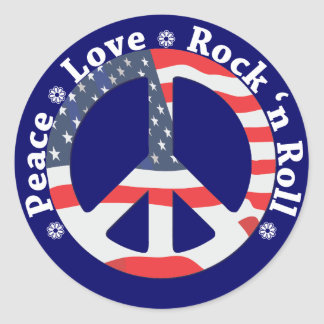 Peace, Love, Rock n Roll Classic Round Sticker