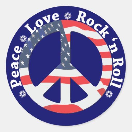 Peace, Love, Rock n Roll Classic Round Sticker