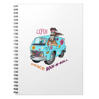 PEACE LOVE ROCK N ROLL SPIRAL NOTE BOOKS
