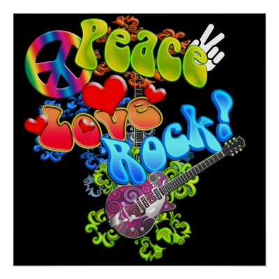 simbolos de amor y paz. ¡Paz, amor, roca!