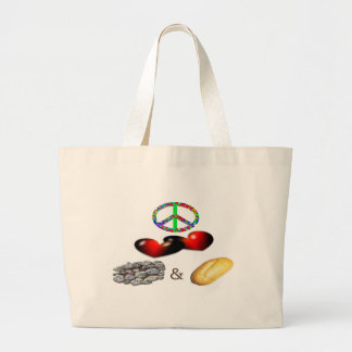 Peace,Love,Rock&Roll Large Tote Bag