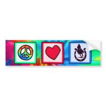 Peace, Love, Rodeo Bumper Sticker