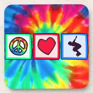 Peace, Love, Rollerblading Beverage Coaster