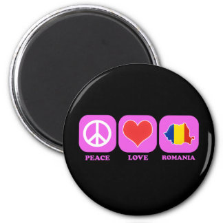 Peace Love Romania 2 Inch Round Magnet