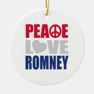 Peace Love Romney Double-Sided Ceramic Round Christmas Ornament