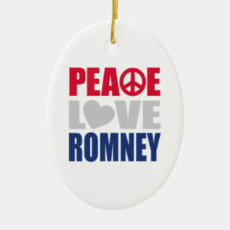 Peace Love Romney Double-Sided Oval Ceramic Christmas Ornament