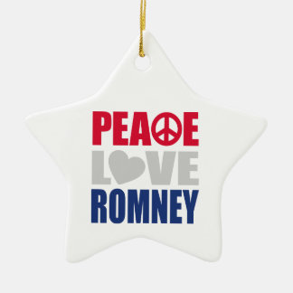 Peace Love Romney Double-Sided Star Ceramic Christmas Ornament
