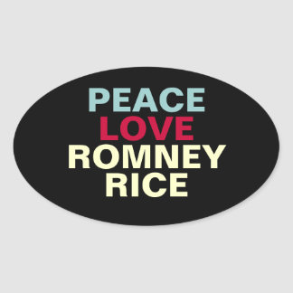 Peace Love Romney Rick Oval Sticker