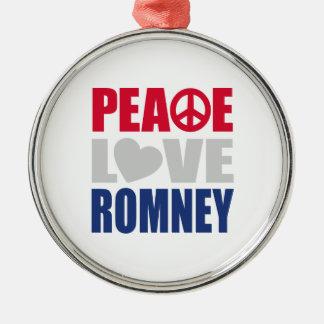 Peace Love Romney Round Metal Christmas Ornament