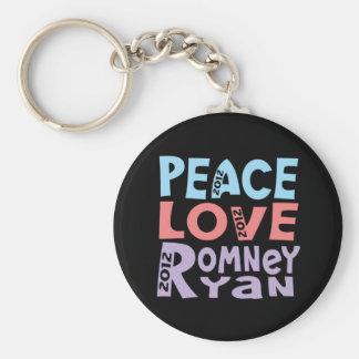 peace love Romney Ryan Basic Round Button Keychain