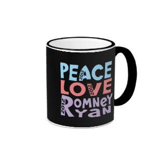 peace love Romney Ryan Ringer Coffee Mug