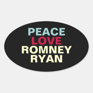 Peace Love Romney Ryan Oval Sticker