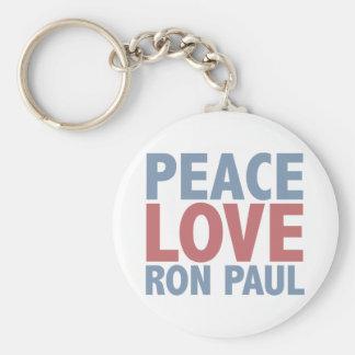 Peace Love Ron Paul Basic Round Button Keychain