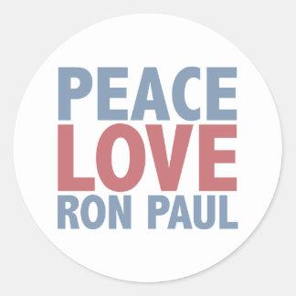 Peace Love Ron Paul Classic Round Sticker