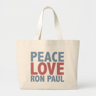 Peace Love Ron Paul Large Tote Bag