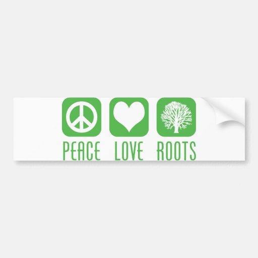 PEACE LOVE ROOTS BUMPER STICKER
