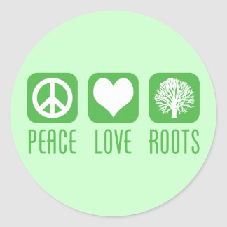 PEACE LOVE ROOTS CLASSIC ROUND STICKER