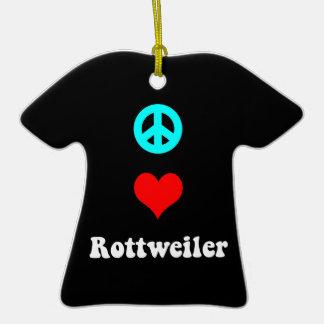 peace love rottweiler Double-Sided T-Shirt ceramic christmas ornament